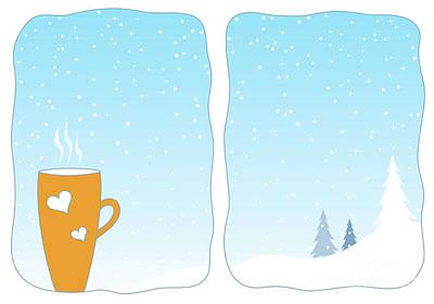 Cup Of Hot Tea In A Snowy Window Art Print