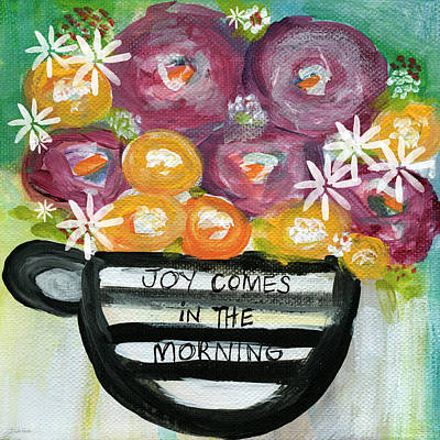 Stripes Mixed Media - Cup Of Joy 2- Contemporary Floral Painting by Linda Woods