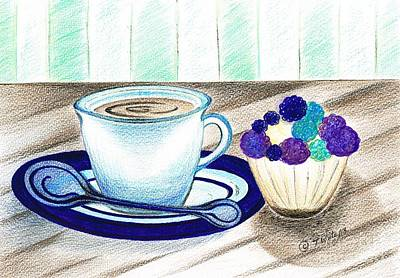 Mixed Media - Cup Of Tea And Iced Cake by Teresa White