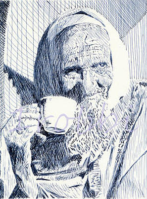Robbi Musser Drawing - Cup Of Tea by Robbi  Musser