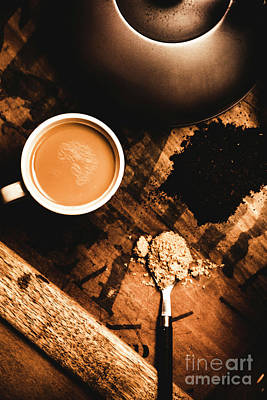 Moody Trees - Cup Of Tea With Ingredients And Kettle On Wooden Table by Jorgo Photography