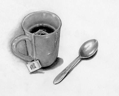 Still Life Drawings - Cup of Tea with Spoon, Pencil Drawing by Joyce Geleynse