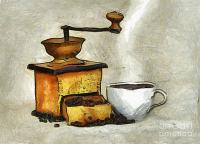 Old Grinders Mixed Media - Cup Of The Hot Black Coffee by Michal Boubin