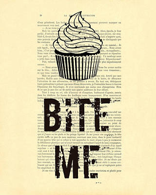 Cupcake Bite Me Typography Art Print