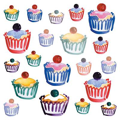 Cupcake Crazy Art Print by Sarah Hough