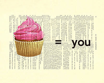 Cupcake Love Digital Art - Pink Cupcake Equals You Print On Dictionary Paper by Madame Memento