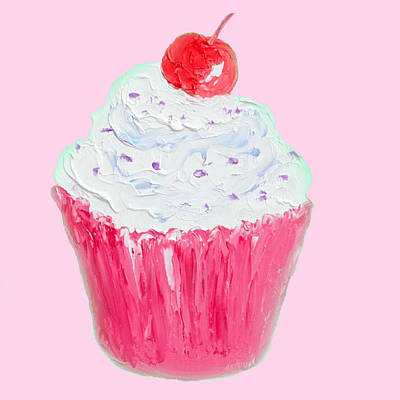 Cupcake Painting On Pink Background Art Print by Jan Matson
