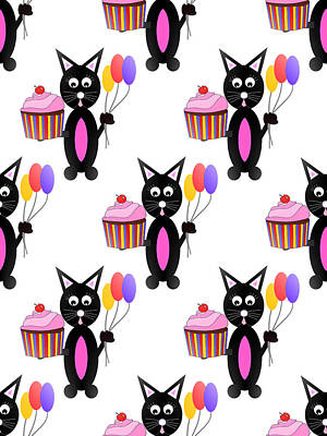 Cute Cupcakes Digital Art - Cupcake Party Pattern by Kathleen Sartoris