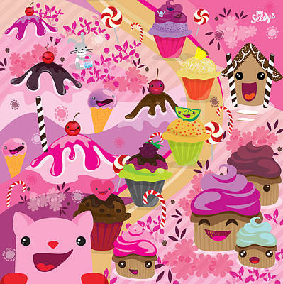 Candy Digital Art - Cupcake Road by Seedys World