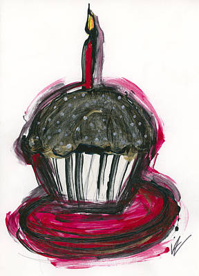 Special Occasion Drawing - Cupcake by Valorie Hillerich