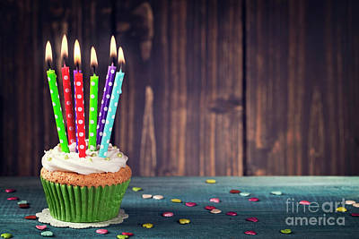 Frosted Cupcakes Digital Art - Cupcake With Birthday Candle by Elena Schweitzer