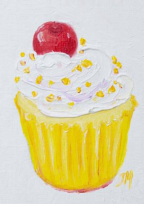 Cupcake With Vanilla Frosting And Cherry Painting Art Print