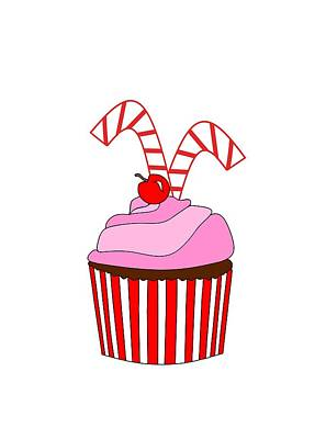 Cute Cupcakes Digital Art - Cupcakes And Candy Canes by Kathleen Sartoris