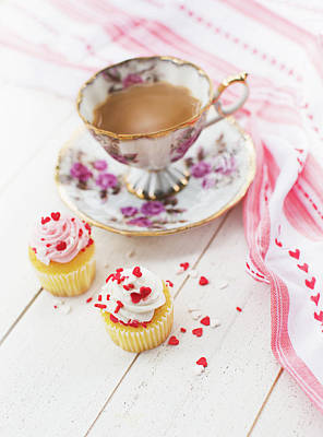 Print featuring the photograph Cupcakes And Coffee by Rebecca Cozart