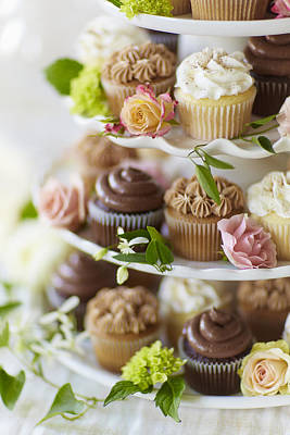 Cupcakes And Flowers On Tiered Stand Art Print by Gillham Studios