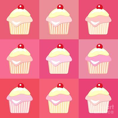 Pink Cards Photograph - Cupcakes Pop Art  by Jane Rix