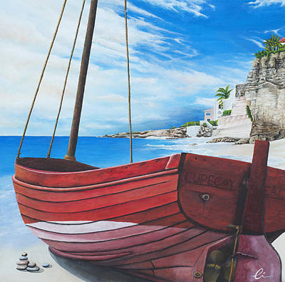 Sint Maarten Wall Art - Painting - Cupecoy Beach by Cindy D Chinn
