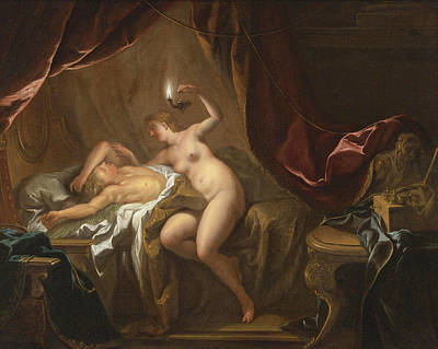 De Troy Painting - Cupid And Psyche by Jean-Francois Detroy