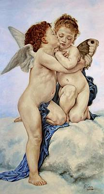 Cupid And Psyche Reproduction William Adolphe Bouguereau  Art Print