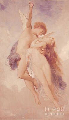 Goddess Mythology Painting - Cupid And Psyche by William Adolphe Bouguereau