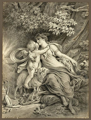 Drawing - Cupid And The Huntress by Jean-Baptiste Huet