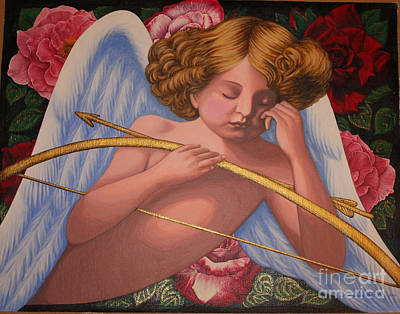 Sleeping Cupid Painting - Cupid Asleep Full  by Amanda Li