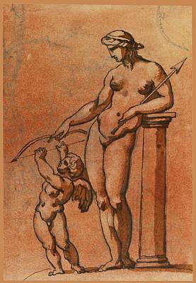 Drawing - Cupid Disarmed By Venus by Theodore Gericault