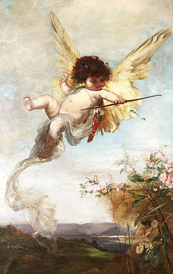 Cupid With A Bow Print by Julius Kronberg