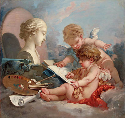 Archangel Art Painting - Cupids, Allegory Of Painting by Francois Boucher