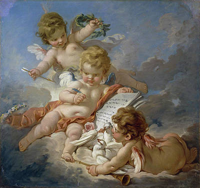 Allegory Painting - Cupids, Allegory Of Poetry by Francois Boucher