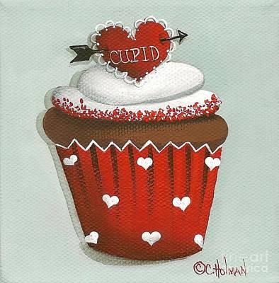 Cupid's Arrow Valentine Cupcake Art Print by Catherine Holman