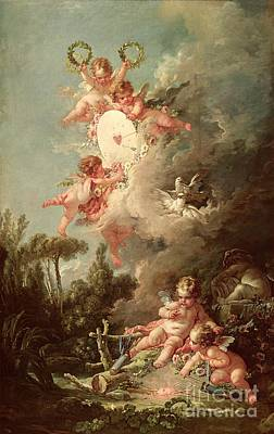 Wood Painting - Cupids Target by Francois Boucher