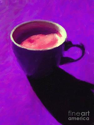 Wingsdomain Digital Art - Cuppa Joe - Purple by Wingsdomain Art and Photography