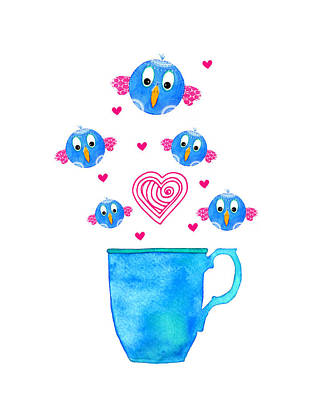 Food And Beverage Digital Art - Cuppa Series - Birdie Java by Moon Stumpp