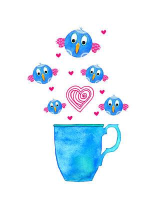 Food And Beverage Digital Art - Cuppa Series - Birdie Java by Moon Stumpp