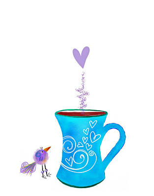 Food And Beverage Digital Art - Cuppa Series -Cuppa Happy by Moon Stumpp
