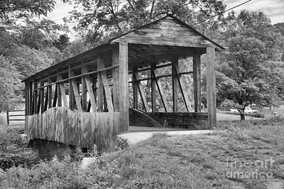 Photograph - Cuppett's Bridge In The Woods Black And White by Adam Jewell