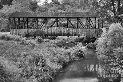 Photograph - Cuppett's Covered Bridge Black And White by Adam Jewell