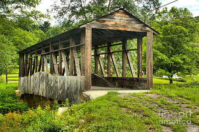 Photograph - Cuppett's Natural Wooden Covered Bridge by Adam Jewell
