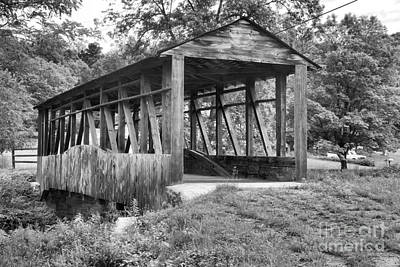 Photograph - Cuppett's Natural Wooden Covered Bridge Black And White by Adam Jewell