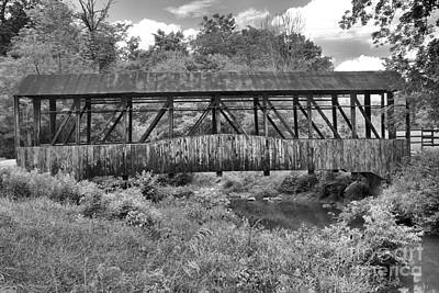 Photograph - Cuppett's Wooden Covered Bridge Black And White by Adam Jewell