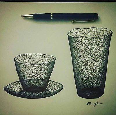 Drawing - Cups And Plate by Olivia Jones