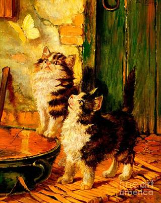 Painting - Curiosity And The Butterfly by Peter Ogden
