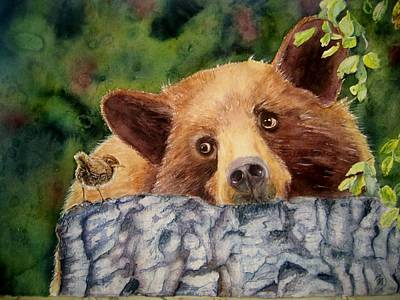 Brown Bear Painting - Curiosity by Patricia Pushaw
