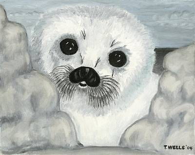 Curious Arctic Seal Pup Art Print by Tanna Lee M Wells