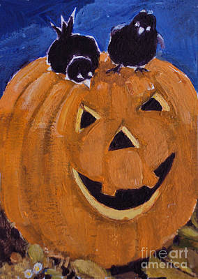Painting - Curious Birds On A Pumpkin by Diane Ursin