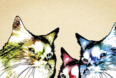 Digital Art - Curious Cats by Mihaela Pater