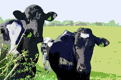 Digital Art - Curious Cows by Mary Castellan