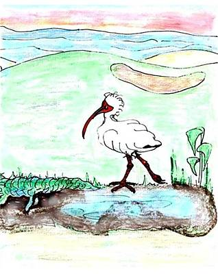 Ibis Drawing - Curious Ibis Stands By by Carol Allen Anfinsen