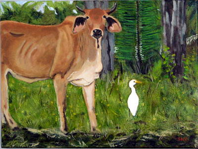 Cattle Egret Painting - Curious In Guatemala by Susan Coffin